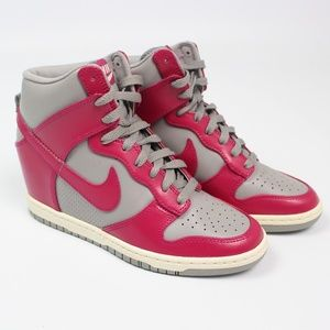 NIKE Dunk Sky Hi Gray Pink Leather Wedge Sneakers